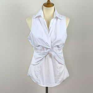 New York & Co White Knotted Sleeveless Blouse 10